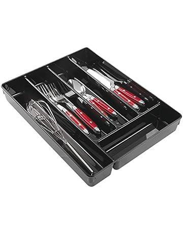 MetroDecor mDesign Organizador plastico con 5 Compartimentos para Sus Utensilios de Cocina - Organizador Cocina en