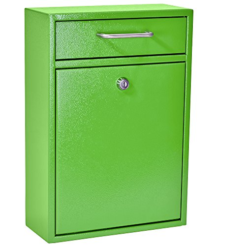 Mail Boss 7422 High Security Steel Locking Wall Mounted Mailbox - Office Drop Box - Comment Box - Letter Box - Deposit Box, Green by Mail Boss