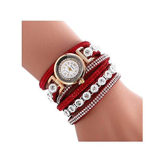 Oksale Women Fashion Winding Bracelet Metal Decorative Circle Quartz Watch (Red)