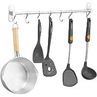 Haaklijst zonder boren, keukenlijst met 7 haken, keukenstang met gepatenteerde lijm + zelfklevende lijm, aluminium…