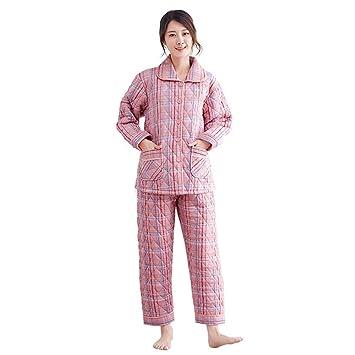 e6d87642c DUKUNKUN Pijamas Mujeres Gruesas De Algodón Cálido Traje Largo De Manga  Larga Informal-S