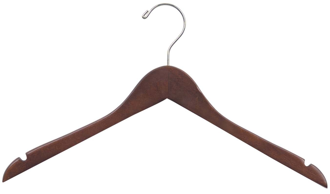 The Great American Hanger Company Wood Top Dress Hanger, Natural Finish, Box of 50 200200-050