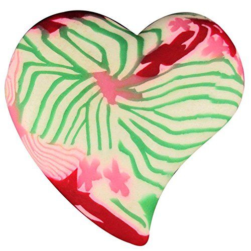 Comforting Clay Hand-Held Heart Charm, Valentine Gift, Love Present, Small Heart Gift - Pink & Green Floral.