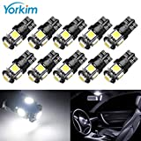 2012 Ford Fusion License Plate Light Bulbs - Yorkim 194 LED Bulbs Xenon White 6000k Super Bright Newest 5th Generation, T10 LED Bulbs, 168 LED Bulb, LED Bulbs for Car Interior Dome Map Door Courtesy License Plate Lights W5W 2825, Pack of 10