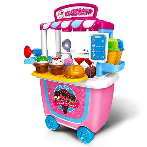 Gizmovine Ice Cream Cart Play Set, (31 pcs) Pretend Food Play Set for Kids Activity & Early Development -