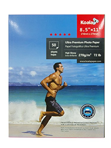 KOALA Photo Paper 8.5X11 inch 50 Sheets With Premium High Glossy Advanced Resin Coated For Canon Hp Epson Inkjet Printer by KOALA PAPER
