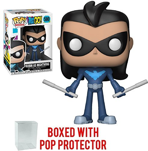 Funko Pop! TV: Teen Titans Go! - Robin As Nightwing Vinyl Figure (Bundled with Pop BOX PROTECTOR CASE)