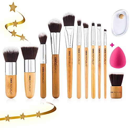 ional Makeup Brush Set with Premium Synthetic Hair and Natural Bamboo handles for Face, Cheeks and Eyes, plus includes a BONUS Complexion Beauty Sponge Blender! ()