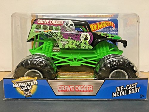 Hot Wheels Year 2016 Monster Jam 1:24 Scale Die Cast Metal Body Official Truck - 4 Time Champion Bad to the Bone BLACK GRAVE DIGGER (CCB06) with Monster Tires, Working -