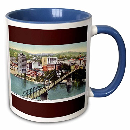 3dRose BLN Vintage US Cities and States Postcards - Birds Eye View of Business Section Charleston West Virginia - 15oz Two-Tone Blue Mug (mug_170925_11)
