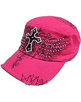 Luxury Divas Rhinestone Graphic Cross Soldier Cap Hat