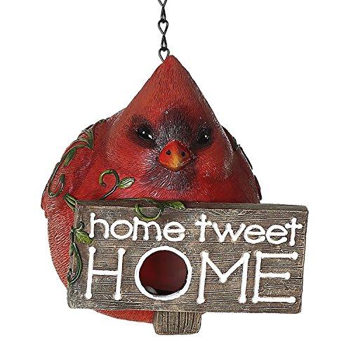 CEDAR HOME Hanging Bird Houses Outdoor Garden Patio Decorative Pet Cottage Resin Birdhouses, Red ()