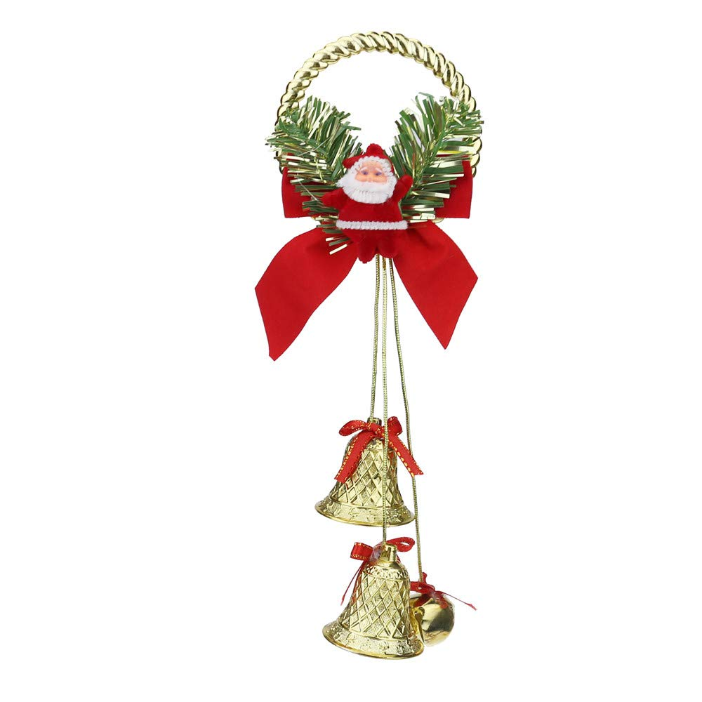 Oldeagle Christmas Ornaments Cute Welcome Santa Bell Xmas Door Hanging Decoration for Home