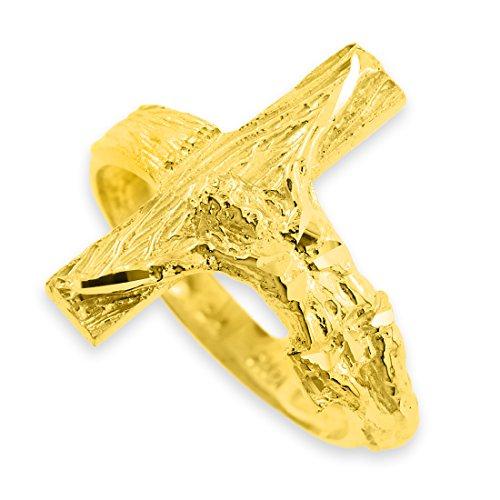 10k Yellow Gold Crucifix Cross Band Ring (8) (10k Crucifix Ring)