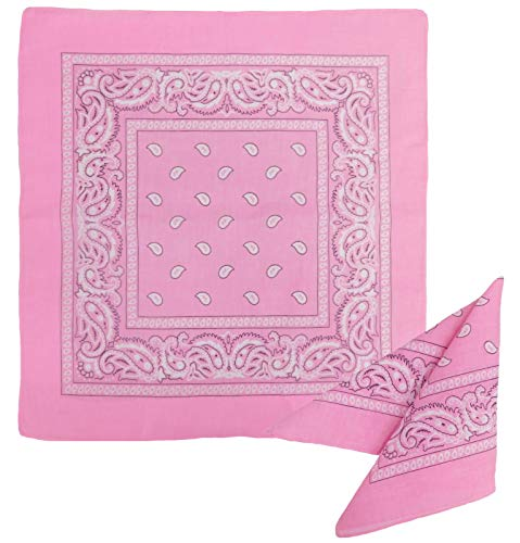 (One Dozen 12 pack Light Pink Paisley 100% cotton Double sided Bandanas by M.H.I.)