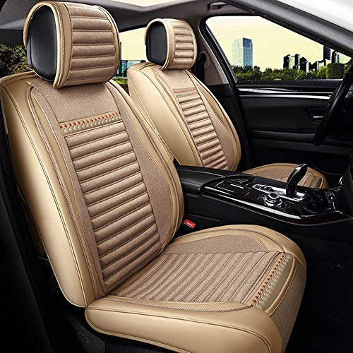 Easy To Clean Linen Car Seat Cushion 5 Seats Full Set - Non-Slip Suede Backing Universal Fit Seat Cover For Fabric And Leather Car Seats,Beige:
