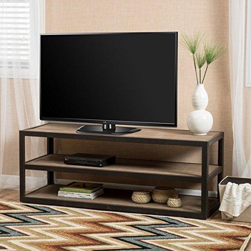 モダン& Contemporary Perth 3-shelf Industrial Entertainment TVコンソールスタンドwithシェルフメタル仕上げメタル、木製ブラウン1 Piece   B07FC658KZ