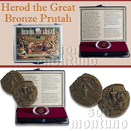 Biblical Coin - HEROD THE GREAT - 2000 Year Old Ancient Jewish Bronze Prutah Biblical Pagan Coin - Authentic Ancient Coin in Clear Display Box with Certificate of Authenticity - JUDEA