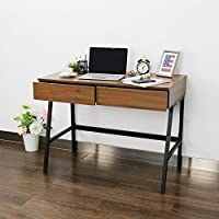 Peach Tree Home Office Computer Table Desk Study Table Writing Desk Workstation with 2 Drawers