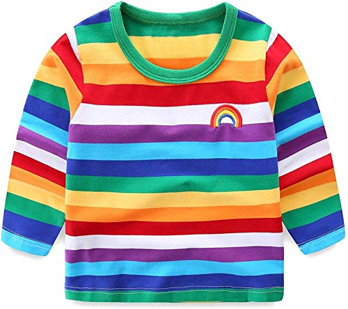 Moon Tree Baby Boys Rainbow Striped Shirt Cotton Long Sleeve T-Shirts T-Shirts 2T (Best Striped T Shirt)