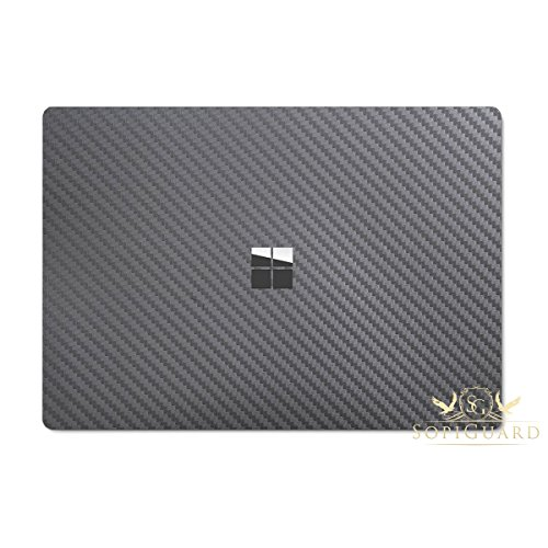 SopiGuard for Microsoft Surface Laptop Carbon Fiber Top and Bottom Panel Precision Edge-to-Edge Coverage Easy-to-Apply Vinyl Skins (Carbon Gunmetal Gray)