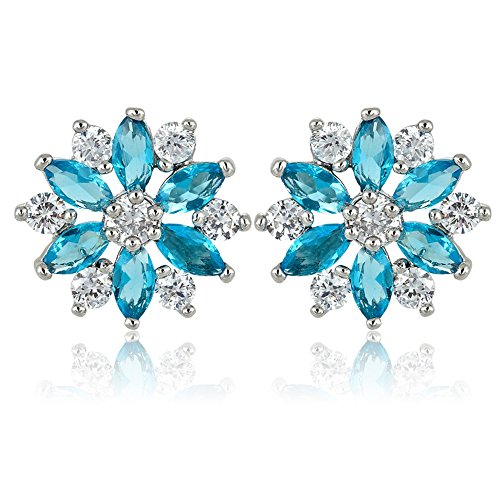 Aquamarine Marquise - [RIZILIA SNOWFLAKE] Stud Pierced Earrings with Round Marquise Cut CZ [Simulated Aquamarine] in White Gold Plated, Simple Modern Elegant