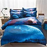 SHADEHAO Home Textile Red Universe Duvet Quilt Cover Pillowcase Flat Bed Sheet Plant Space Bedding Sets Kid Teen Girl Boy Linens 11 Twin 4Pcs Flat Bed Sheet
