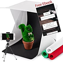 Portable Light Box Mini Photo Studio Shooting Tent , Built-in LED Strip, 4 Colors Photography Backdrops, Includes E-Book on Product Photography [22.6cm x 23cm x 24cm]
