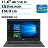 Acer Aspire One Cloudbook Aspire 11-AO1 11.6-Inch Laptop (Intel Celeron N3050 Dual-Core 1.60 GHz Processor, , 2 GB DDR3L SDRAM, 16GB eMMC SSD, Windows 10 Home), Black