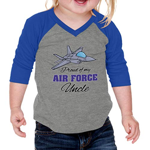 Cute Rascals Proud of My Air Force Uncle Cotton/Polyester 3/4 Sleeve V-Neck Boys-Girls Infant Raglan T-Shirt Baseball Jersey - Gray Royal Blue, 12 Months