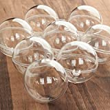 #1: Package of 12 Clear Plastic Crafting Acrylic 60mm Fillable Ball Ornaments & Bath Bomb Molds
