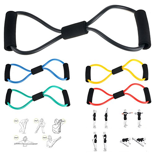 5 PCS Resistance Bands Rope Tube Workout Exercise Bands Yoga 8-Shape Body Fitness Home Gym by LOVE'S