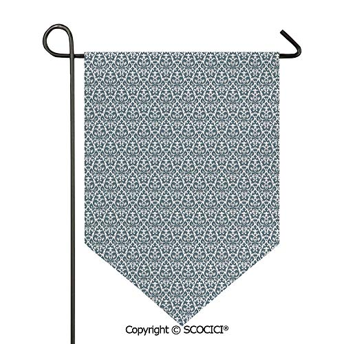 Easy Clean Durable Charming 12x18.5in Garden Flag Curvy Repeating Renaissance Motifs Inspired by Nature Vintage Design Curls Leaves Decorative,Grey White Double Sided Printed,Flag pole NOT included