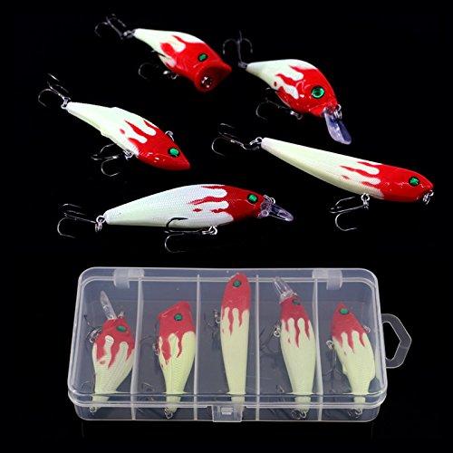 Zoostliss Night Fishing Lure Bait Kit Luminous VIB Popper Crank Minnow Pencil with Lure Box