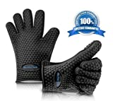 BBQ Grill Gloves Heat Resistant Protection Silicone Gloves Great for Cooking Barbecue Baking Frying Gripping Smoking and More! FDA Approved and BPA Free,!