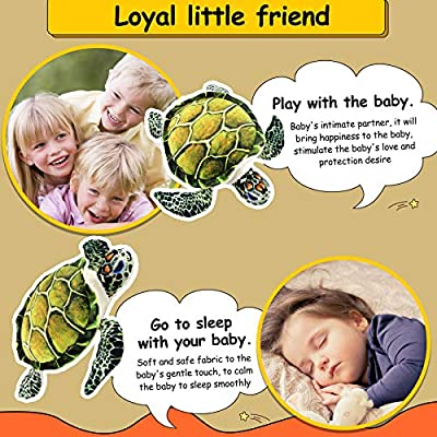 Athoinsu Realistic Stuffed Sea Turtle Soft Plush Toy Ocean Life Tortoise Throw Pillow Birthday for Toddler Kids, 18'': Home & Kitchen