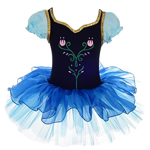 Little Miss Princess Tutu - Lito Angels Girls' Princess Anna Dress Up Costume Dancewear Ballet Tutus Embroideried Size 6-7