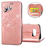 IKASEFU Galaxy S8 Case,Clear Crown Rhinestone Diamond Bling Glitter Wallet with Card Holder Emboss Mandala Floral Pu Leather Magnetic Flip Case Protective Cover for Samsung Galaxy S8,Rosa Gold