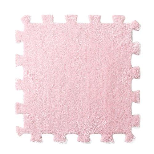 - Wffo 6 Pcs EVA Eco Puzzle Carpet, Mosaic Tile Living Room Cushion Bedside Carpet (Pink)