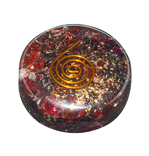 (YATHABI Garnet Crystal Orgone Round Shape Disk for Reiki Healing Energy Generator Kit Size: 1.5-2 Inch)