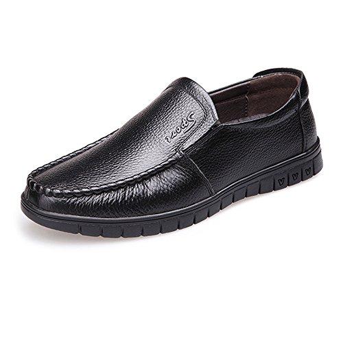 Hombre on shoes clásico Slip Genuino Negro Hombre Suave Perforación Opcional 2018 para Zapatos de Suela Plana de Cuero Hongjun mocasín Mocasines UdqSzwz