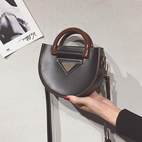 Roscloud@ Bolso de hombro de la bolsa de hombro de la bolsa de sillín portátil femenina pequeña bolsa de mensajero ( Color : Caqui ) Negro