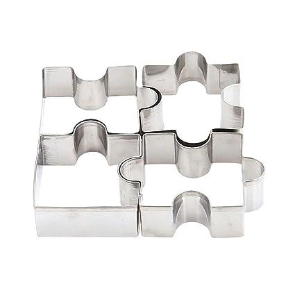 Molde de acero inoxidable con forma de rompecabezas para galletas, galletas, pasteles, bricolaje, moldes cortadores