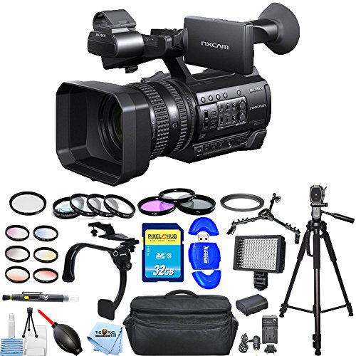 Sony HXR-NX100 Full HD NXCAM Camcorder #HXR-NX100 MEGA Bundle with Extra Battery and Charger, 32GB SD, Tripod, Filter Kits, Shoulder Stabilizer, LED Light + Much More [International Version] -  Pixel Hub, SNYHXRNX10021