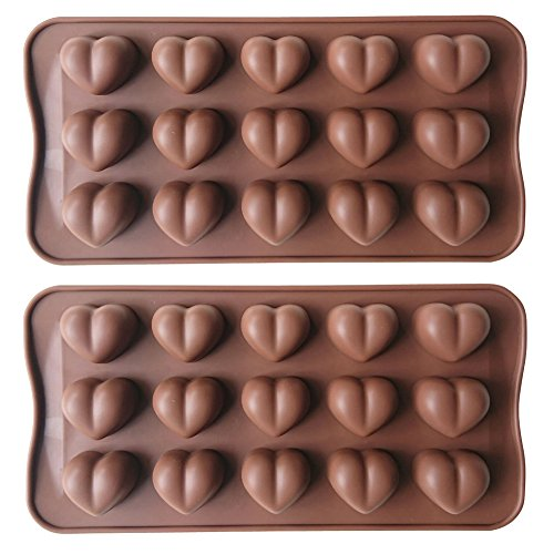 Truffle Chocolate Mold (AxeSickle 15 holes Silicone heart shaped chocolate mold,Candy mold,Pudding mold,Heart Shaped Ice Cube, Soap,Cake Decorating, 2 pcs!)