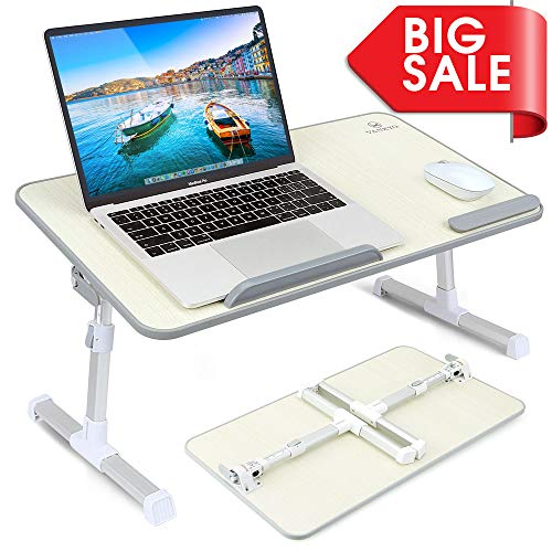 VANKYO Foldable Laptop Standing Desk, Portable Laptop Table - Height and Angle Adjustable Notebook Stand, Breakfast and Bed Tray Table, Folding Lap Holder for Adults