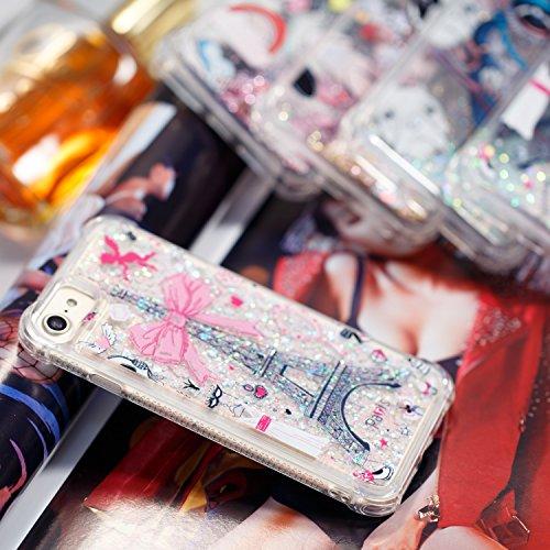 Funda iPhone 7, Suave Funda iPhone 8, Anfire Bling Lentejuelas Líquido Silicona Quicksand Carcasa Gel TPU Bumper Case Flotante Moviendo Estrellas Cubierta Anti-Gota Protectora Caso para iPhone 7 / 8 A Torre