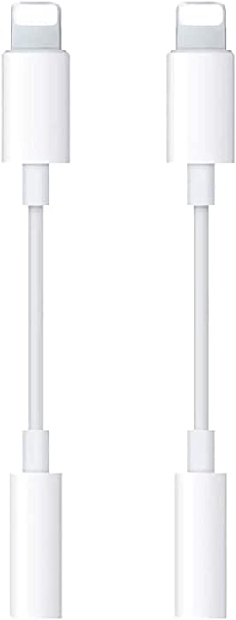 [Apple MFi Certified] 2 Pack for iPhone Headphone Jack Adapter Lightning to 3.5mm Headphone Aux Audio Adapter for iPhone Dongle Cable Compatible with iPhone 11 Xs MAX XR X 8 7 iPad iPod