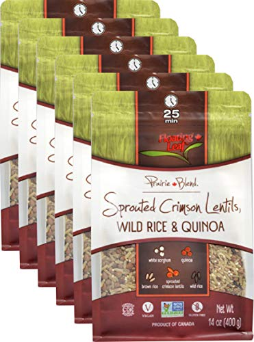 Floating Leaf - Sprouted Crimson Red Lentil, Wild Rice and Quinoa Prairie Blend - Case of 6 x 14 ounces - Gluten-Free, Non GMO, and Vegan
