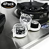Wehome Stove Oven Knob Covers Set of 4, Upgraded Clear View Oven and Stove Knob Safety Covers Protectors - Easy Installation and Universal Gas Oven Lock for Baby Child Toddler Kitchen Safety